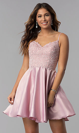 Short Lace-Applique-Bodice A-Line Homecoming Dress