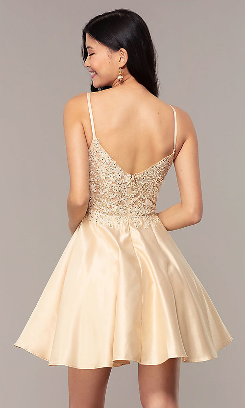 Image of short lace-applique-bodice a-line homecoming dress. Style: DQ-3037 Detail Image 7