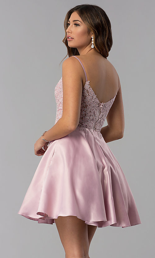 Image of short lace-applique-bodice a-line homecoming dress. Style: DQ-3037 Back Image
