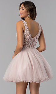Image of short embroidered-bodice homecoming dress in blush. Style: DQ-3034 Back Image