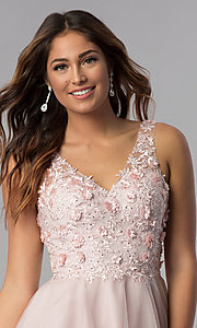 Image of short embroidered-bodice homecoming dress in blush. Style: DQ-3034 Detail Image 1