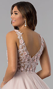 Image of short embroidered-bodice homecoming dress in blush. Style: DQ-3034 Detail Image 2