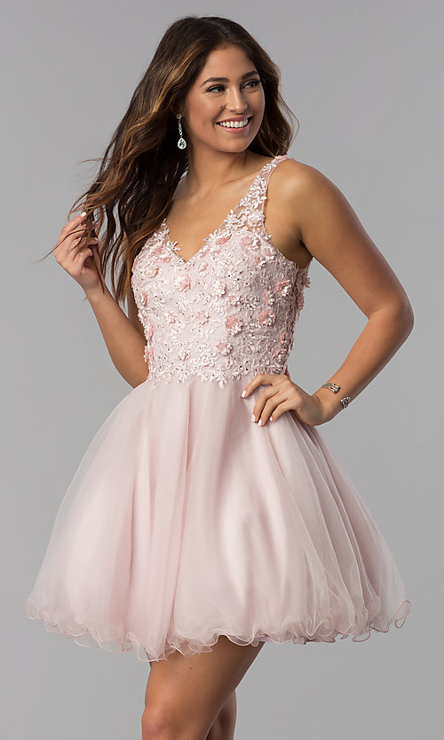 Image of short embroidered-bodice homecoming dress in blush. Style: DQ-3034 Front Image