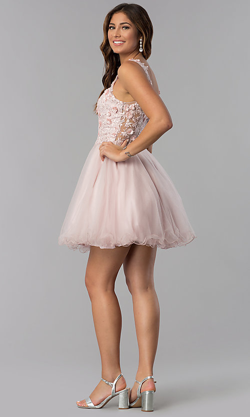 Image of short embroidered-bodice homecoming dress in blush. Style: DQ-3034 Detail Image 3