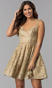 Image of short gold embroidered-mesh homecoming party dress. Style: DQ-3055 Front Image