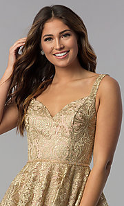 Image of short gold embroidered-mesh homecoming party dress. Style: DQ-3055 Detail Image 1