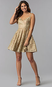 Image of short gold embroidered-mesh homecoming party dress. Style: DQ-3055 Detail Image 3