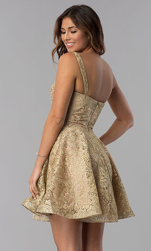 Image of short gold embroidered-mesh homecoming party dress. Style: DQ-3055 Back Image