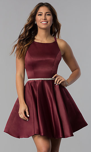 Open-Back Short Satin Homecoming Party Dress