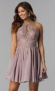 Image of mocha short homecoming dress with embroidered lace. Style: DQ-3043 Front Image