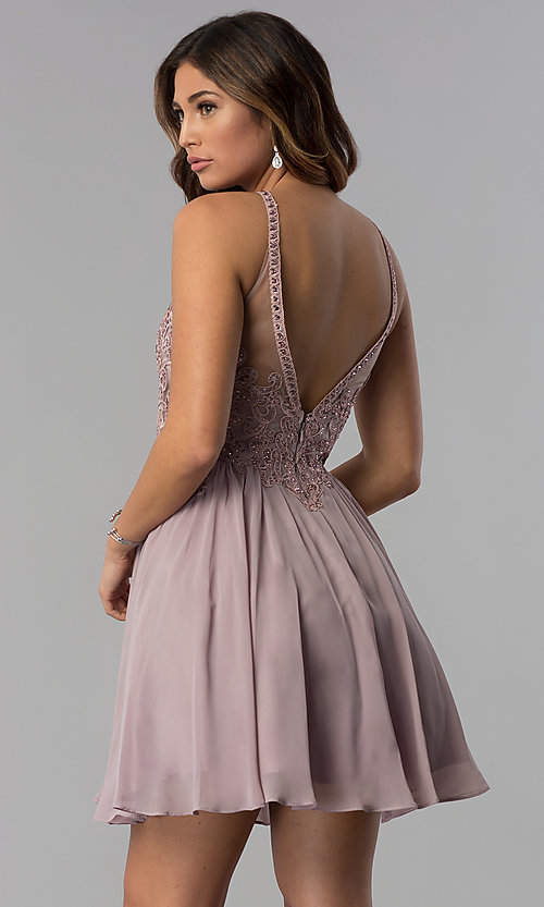 Image of mocha short homecoming dress with embroidered lace. Style: DQ-3043 Back Image