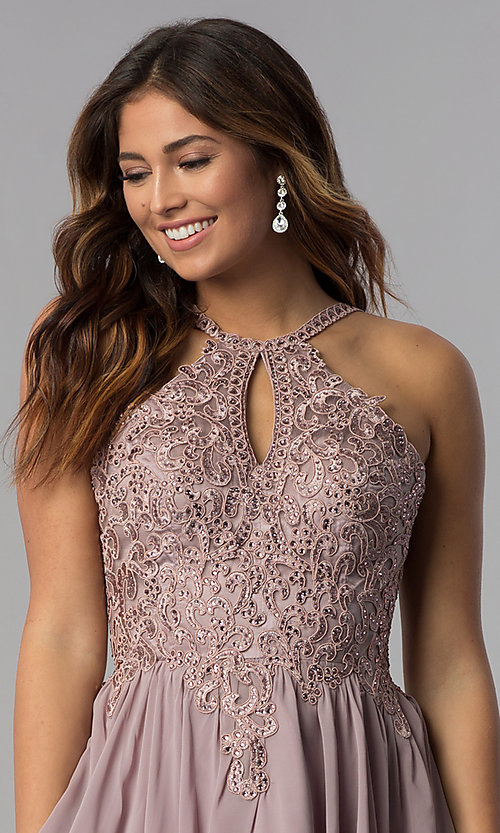 Image of mocha short homecoming dress with embroidered lace. Style: DQ-3043 Detail Image 1