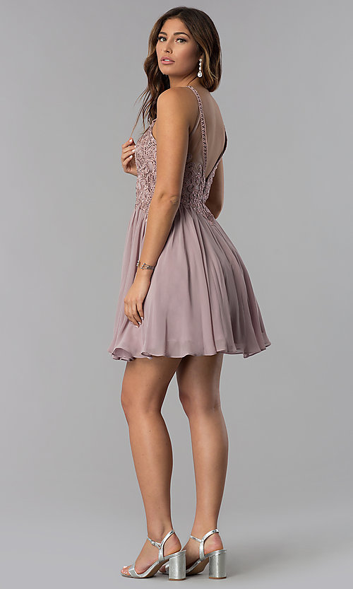 Image of mocha short homecoming dress with embroidered lace. Style: DQ-3043 Detail Image 3