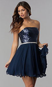 Image of sequin-bodice short strapless navy homecoming dress. Style: DQ-3045 Front Image
