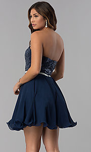 Image of sequin-bodice short strapless navy homecoming dress. Style: DQ-3045 Back Image