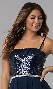 Image of sequin-bodice short strapless navy homecoming dress. Style: DQ-3045 Detail Image 1