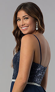 Image of sequin-bodice short strapless navy homecoming dress. Style: DQ-3045 Detail Image 2