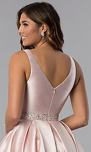 Image of satin a-line short homecoming dress blush pink. Style: DQ-3065 Detail Image 2