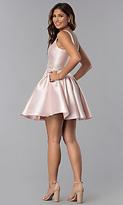Image of satin a-line short homecoming dress blush pink. Style: DQ-3065 Detail Image 3