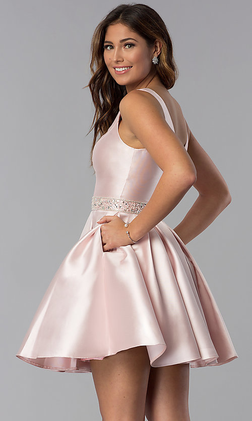 Image of satin a-line short homecoming dress blush pink. Style: DQ-3065 Front Image