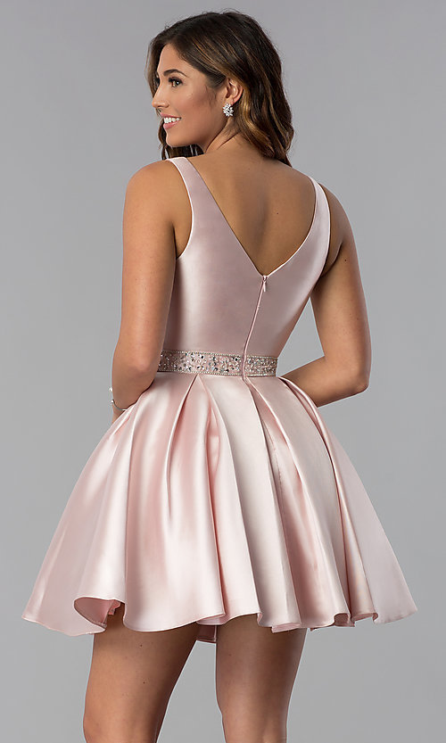 Image of satin a-line short homecoming dress blush pink. Style: DQ-3065 Back Image