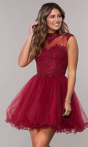 Image of short homecoming dress with high-neck lace bodice. Style: DQ-3027 Detail Image 3