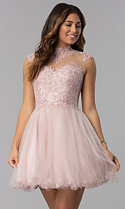 Image of short homecoming dress with high-neck lace bodice. Style: DQ-3027 Front Image
