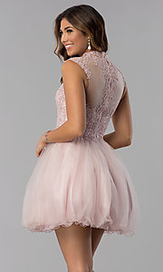 Image of short homecoming dress with high-neck lace bodice. Style: DQ-3027 Back Image