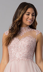Image of short homecoming dress with high-neck lace bodice. Style: DQ-3027 Detail Image 1