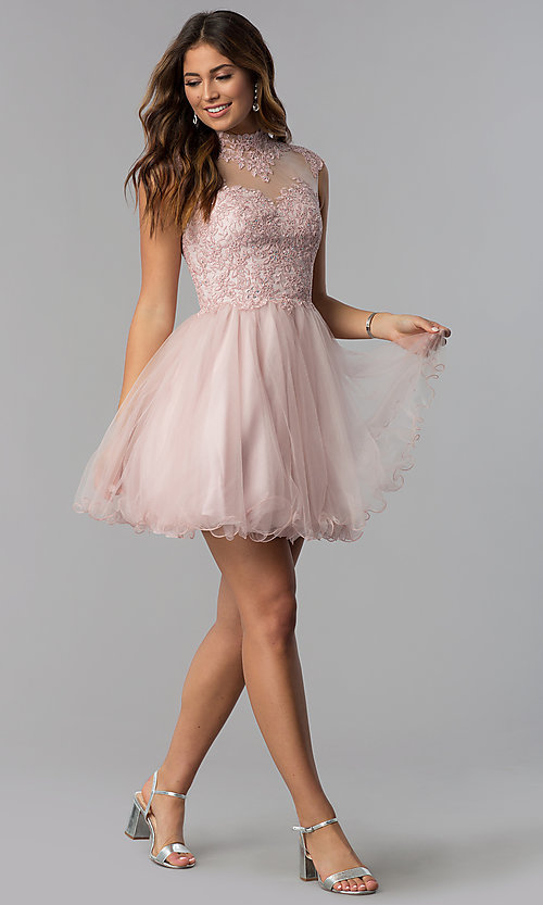 Image of short homecoming dress with high-neck lace bodice. Style: DQ-3027 Detail Image 2