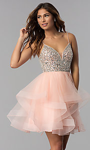 Image of short blush pink beaded v-neck homecoming dress. Style: DQ-3050 Front Image