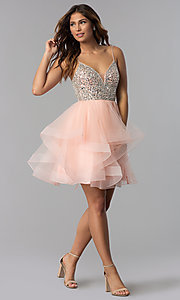 Image of short blush pink beaded v-neck homecoming dress. Style: DQ-3050 Detail Image 2