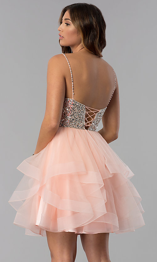 Image of short blush pink beaded v-neck homecoming dress. Style: DQ-3050 Back Image