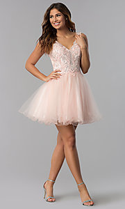 Image of short babydoll homecoming dress in blush pink. Style: DQ-3022 Detail Image 2