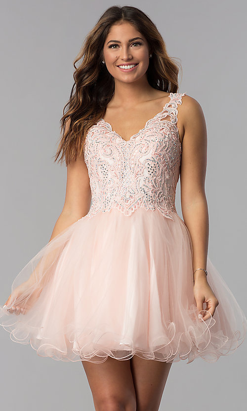 Image of short babydoll homecoming dress in blush pink. Style: DQ-3022 Front Image