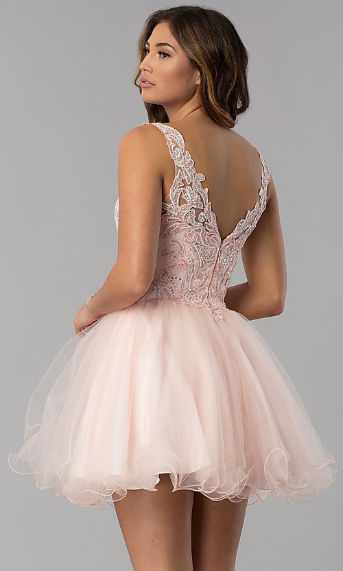 Image of short babydoll homecoming dress in blush pink. Style: DQ-3022 Back Image