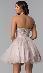 Image of beaded-bodice dusty pink homecoming party dress.  Style: DQ-3056 Back Image
