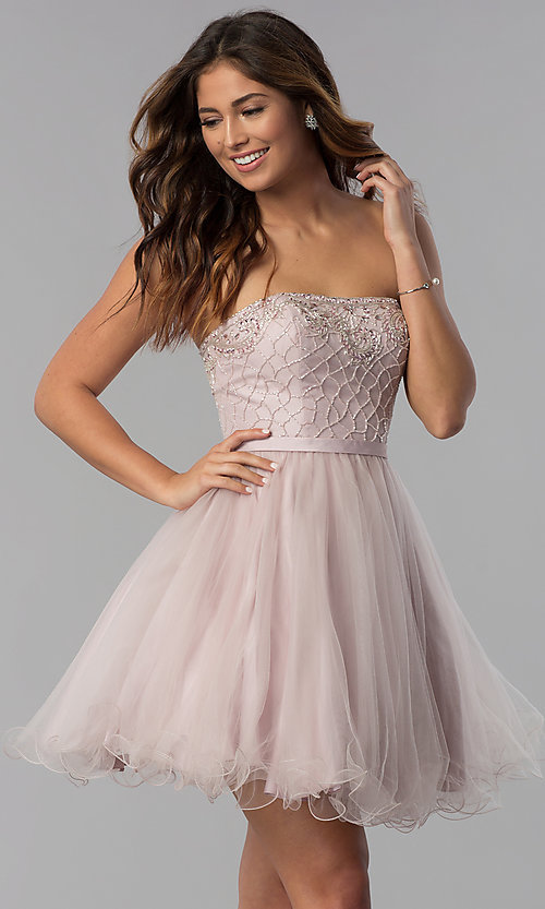 Image of beaded-bodice dusty pink homecoming party dress.  Style: DQ-3056 Front Image