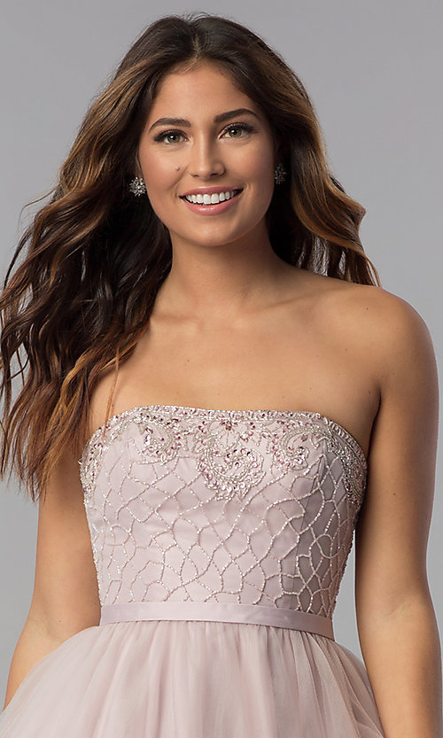 Image of beaded-bodice dusty pink homecoming party dress.  Style: DQ-3056 Detail Image 1
