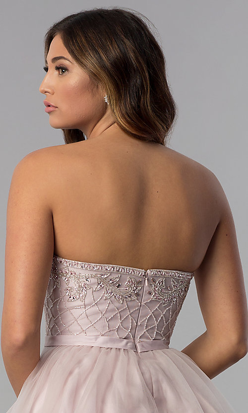 Image of beaded-bodice dusty pink homecoming party dress.  Style: DQ-3056 Detail Image 2