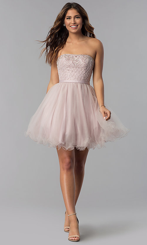 Image of beaded-bodice dusty pink homecoming party dress.  Style: DQ-3056 Detail Image 3