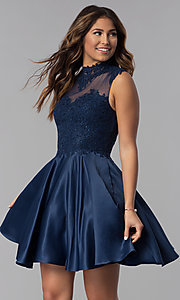 Image of navy blue short lace-applique homecoming dress. Style: DQ-3069 Front Image