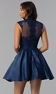 Image of navy blue short lace-applique homecoming dress. Style: DQ-3069 Back Image