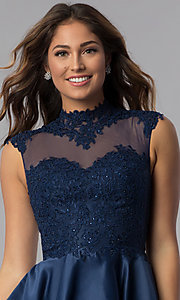 Image of navy blue short lace-applique homecoming dress. Style: DQ-3069 Detail Image 1