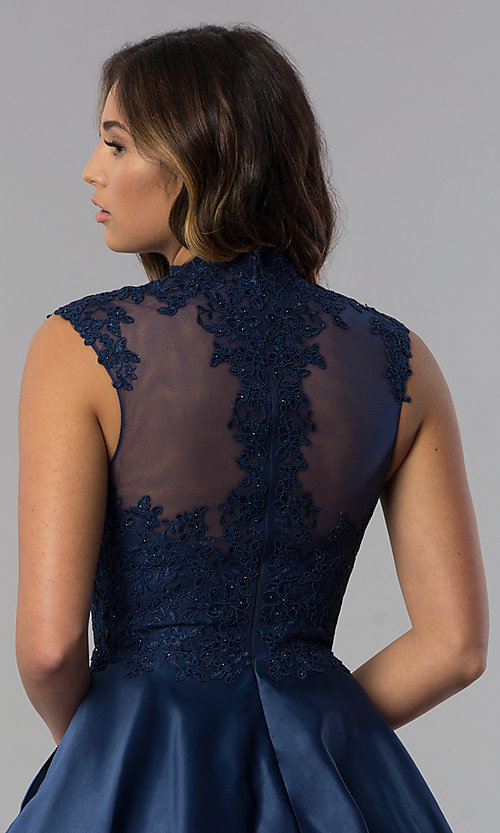 Image of navy blue short lace-applique homecoming dress. Style: DQ-3069 Detail Image 2