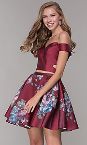 Image of off-shoulder two-piece short homecoming dress. Style: JT-798 Detail Image 2
