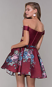 Image of off-shoulder two-piece short homecoming dress. Style: JT-798 Detail Image 3