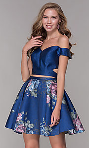 Image of off-shoulder two-piece short homecoming dress. Style: JT-798 Front Image