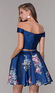 Image of off-shoulder two-piece short homecoming dress. Style: JT-798 Back Image
