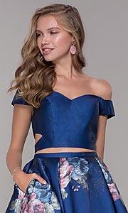 Image of off-shoulder two-piece short homecoming dress. Style: JT-798 Detail Image 1